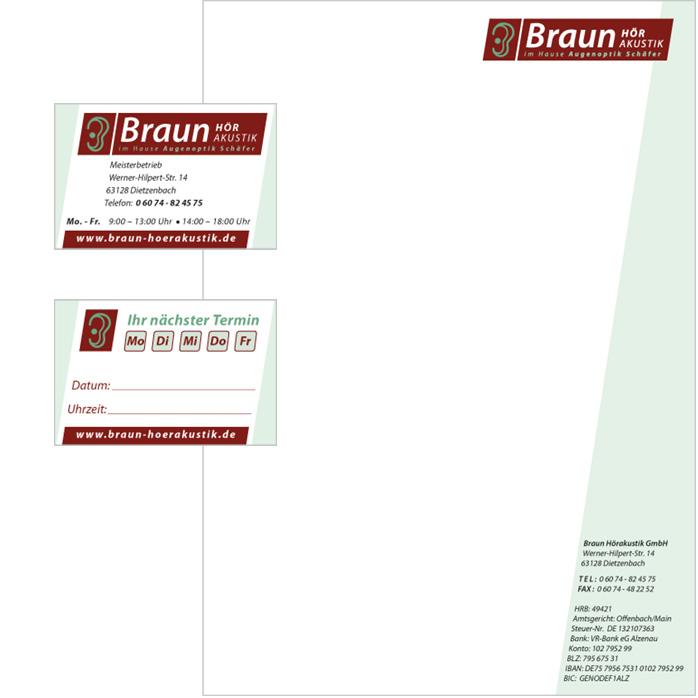 Geschäftsausstattung Braun Hörakustik